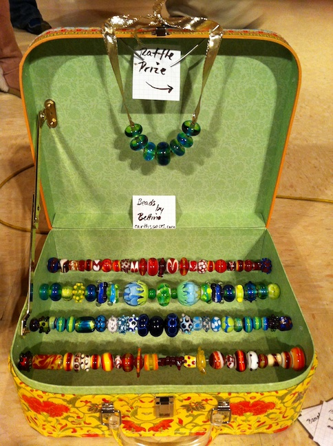 Display of hand-made beads by Bettina Barbier